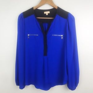 TAKARA Blouse Blue Black Semi Sheer Top